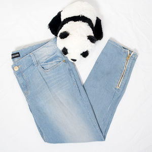 Blue, white striped Express ankle legging jeans